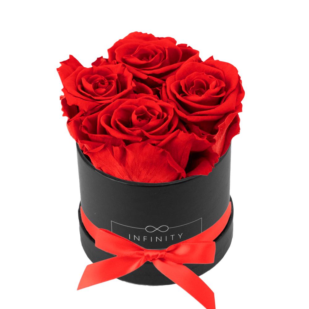 konservierte Vibrant Red Rosen die jahrelang halten in schwarzer Flowerbox