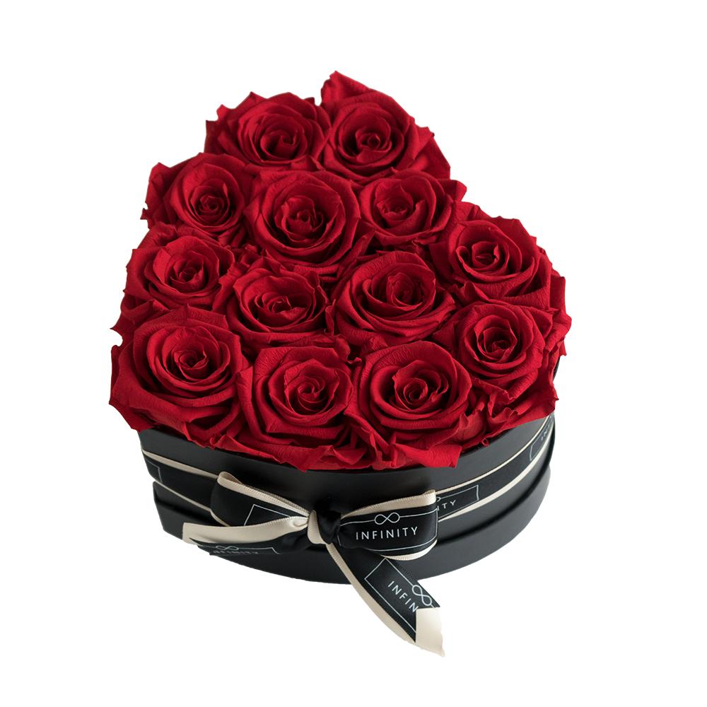 Vibrant Red Infinity Rosen in Herzbox