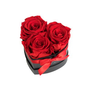 INFINITY Herzbox Small 3 Rosen in Vibrant Red in schwarzer Box