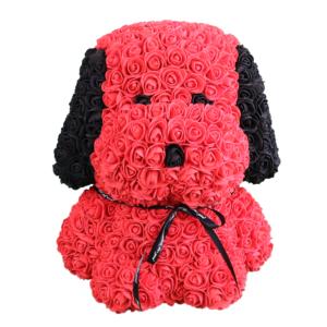 Hund aus Rosen in Rot