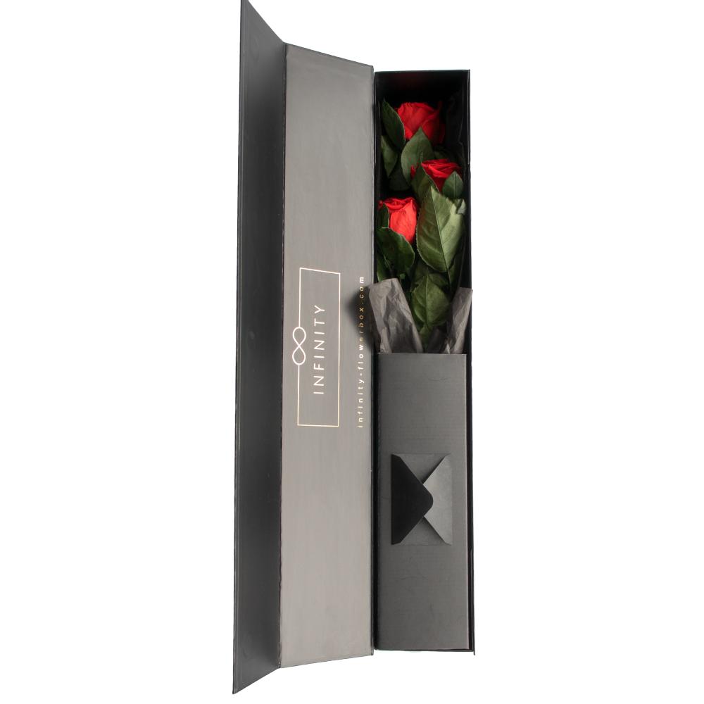 3 Stem Rosen in Vibrant red und Geschenkbox
