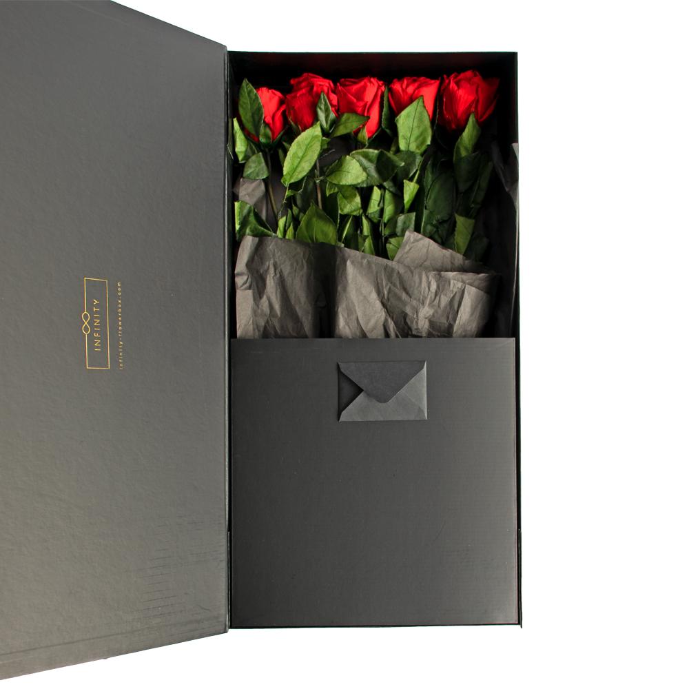 Produktbild Stem Rose Large Vibrant Red mit Geschenkbox
