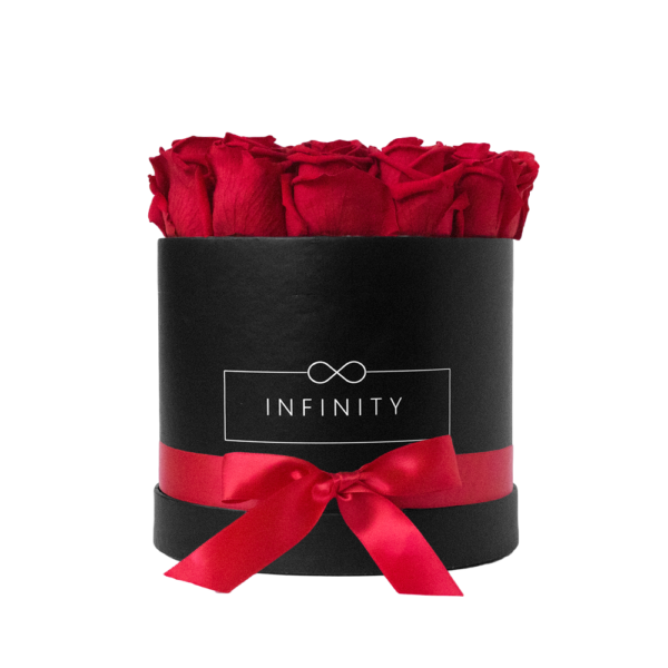 Vibrant Red Infinity Rosen in schwarzer Flowerbox