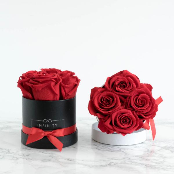 vibrant Red Flowerbox mit ewig haltbare Rosen