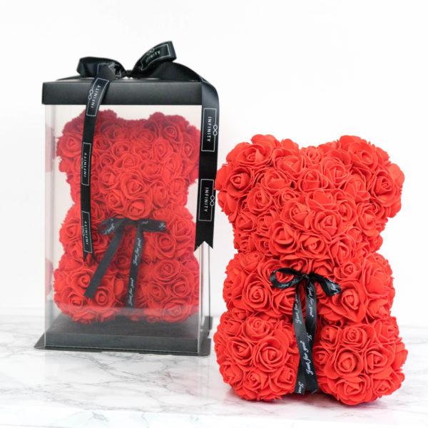 Teddybär aus Rosen in Rot mit Geschenkbox