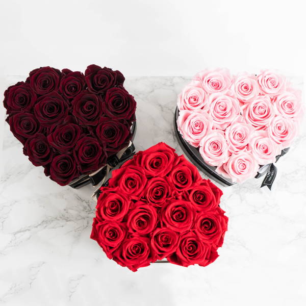 Herzbox Kollektion mit Infinity Rosen