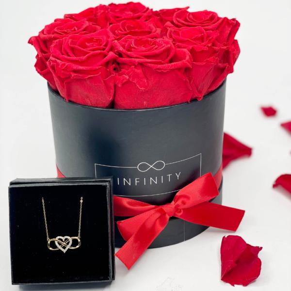 Geschenkbox aus Infinity Kette und Rosen die 3 Jahre halten