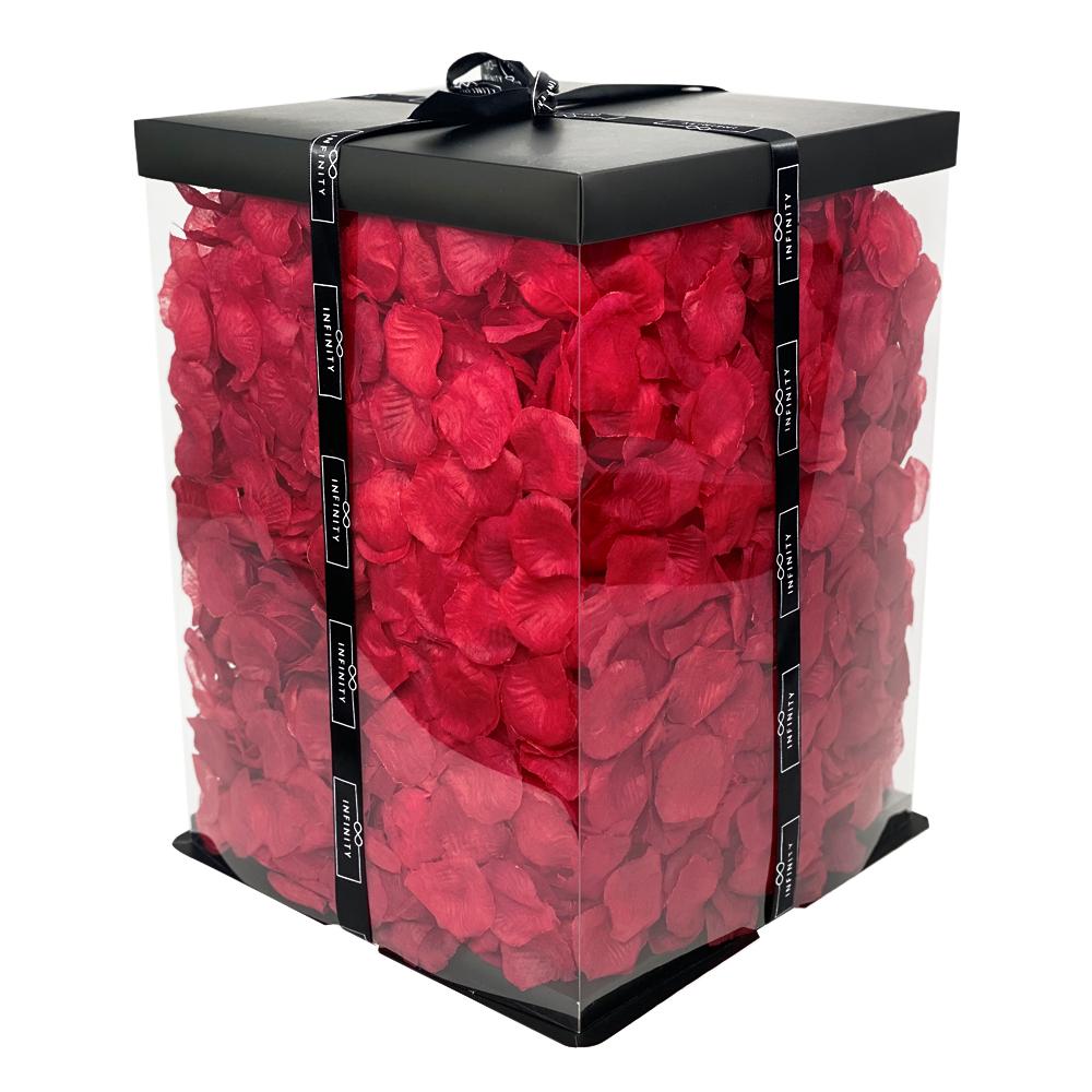 Rosen Teddybär gefüllt mit Rosenblätter in Rot als Geschenkbox