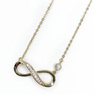 Infinity Halskette in Gold mit Steinchen besetzt
