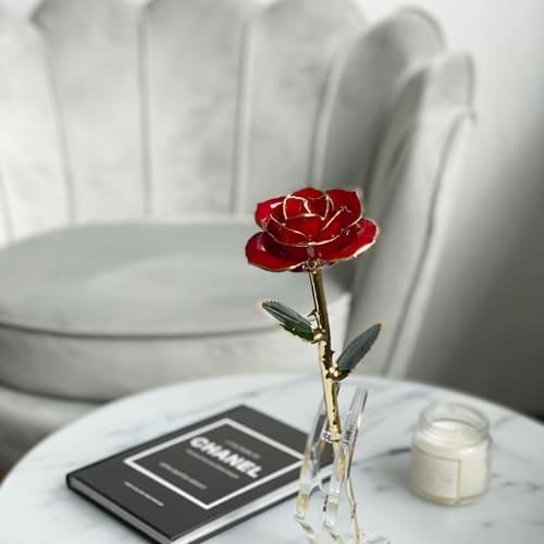 jahrelang haltbare infinity 24k Rose in hübschem Ständer