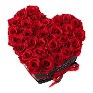 INFINITY Flowerbox Herzbox Extra Large Vibrant Red Rosen mit schwarzer Box
