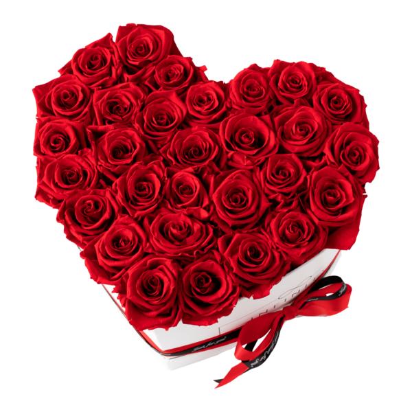 INFINITY Flowerbox Herzbox Extra Large Vibrant Red Rosen mit weißer Box